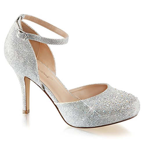 Womens Silver Glitter Shoes Silver Pumps Ankle Strap Rhinestone 3 1/2 Inch Heel Size: 10
