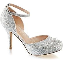 Summitfashions Womens Silver Glitter Shoes Silver Pumps Ankle Strap Rhinestone 3 1/2 inch Heel