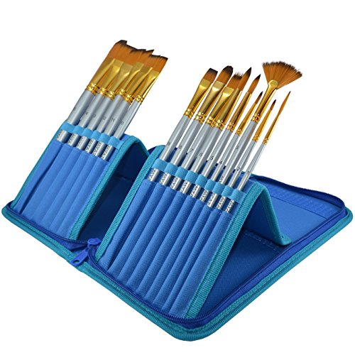 Quality Paint Brushes for all Media in a Blue Travel Holder