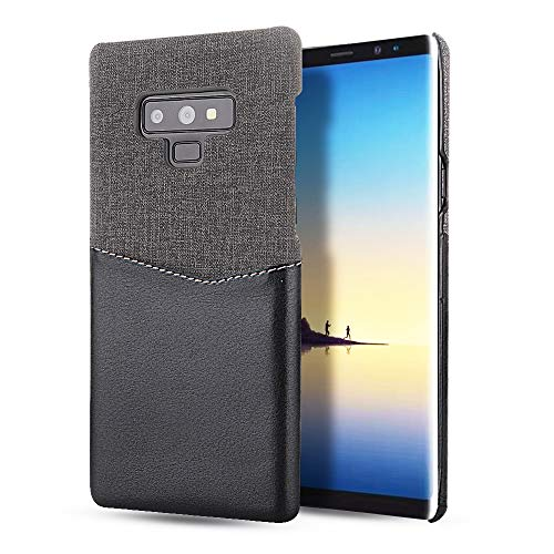 Price comparison product image Wallet Case for Samsung Galaxy Note 9,Slim Hybrid Cloth Fabric Hard PC Protection Cover with Card Holder Slots for Note 9 (Black + Gray, Samsung Galaxy Note 9)