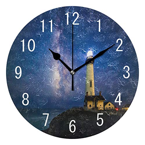 ALAZA Home Decor Starry Night Milky Way Lighthouse Round Acrylic Wall Clock Non Ticking Silent Clock Art for Living Room Kitchen Bedroom