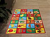 Masada Rugs Learning Alphabet Kids Carpet Design ABC Food (3 Feet 3 Inch X 4 Feet 10 Inch)