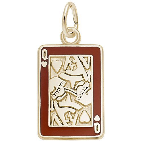 (Rembrandt Charms, Queen of Hearts, 10k Yellow Gold, Engravable)