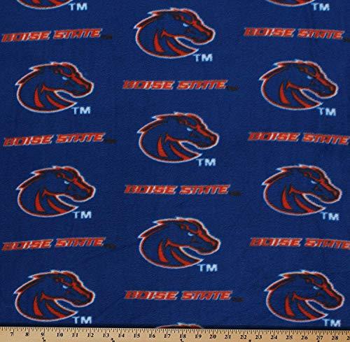 - Fleece Boise State University Broncos College Fleece Fabric Print by The Yard - Blue