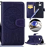 HTC One M8 Flip Case,HTC One M8 Leather Case,Etsue Pretty Retro Dreamcatcher Pattern Pu Magnetci Mandala Flower Feather Leather Strap Wallet Case Cover with Card Slots for HTC One M8+Blue Stylus Pen+Bling Glitter Diamond Dust Plug(Colors Random)-Dreamcatcher,Purple