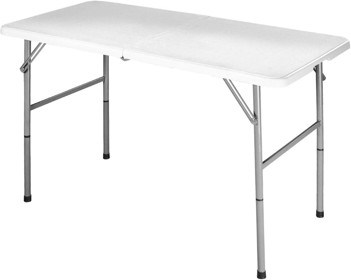 Table de Jardin pour Camping Pique-Nique Barbucue- Mat/ériau : HDPE L DREAMADE Table Pliante Portable en Plastique Charge Maximale : 150 KG Blanc Noir Pliable en Deux