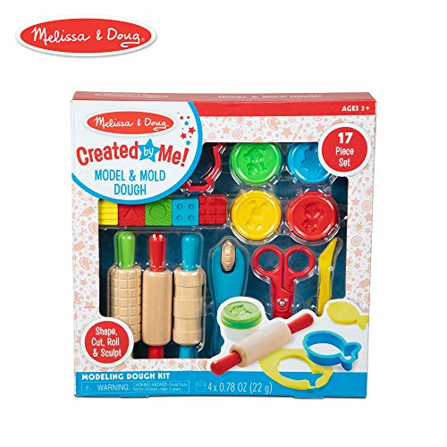 Melissa & Doug Created by Me! 17-Piece Model and Mold Modeling Dough Kit (4 Tubs Dough and -