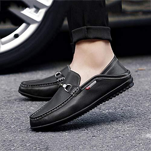 Primavera Cómodos Bajos Perezoso Informales Hombres Mocasines Caminar Zapatos Negro Y Yaxuan Para botín otoño Cuero Antideslizantes 6qTHXxO5xw