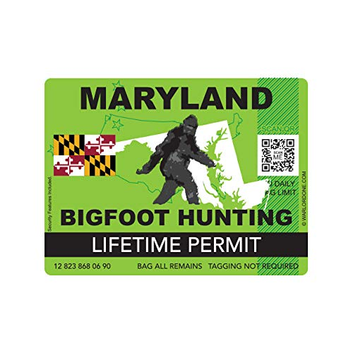 fagraphix Maryland Bigfoot Hunting Permit Sticker Die Cut Decal Sasquatch Lifetime FA Vinyl - 4.00 Wide