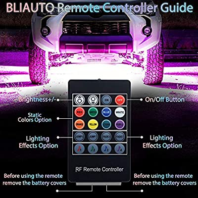 BLIAUTO Car Underglow LED Lights Underbody Lighting Kit 12V RGB LED Strip Atmosphere Decorative Lights Waterproof Exterior with Wireless Remote Control 2-in-1 Design for Cars Trucks(90x120cm): Automotive