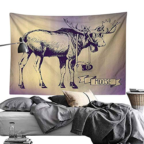 (Decorative Tapestry Moose Hipster Deer with Shades Sunglasses and Camera Vintage Ombre Design Funny Animal Art Hippie Tapestry W93 x L70 Purple Beige )