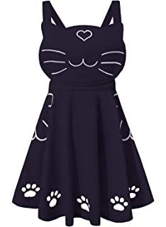 49188397fc Doballa Women s Ajustable Straps Love Heart Cat Face Embroidered Cute Paw  Hollow Out Lolita Skirt with