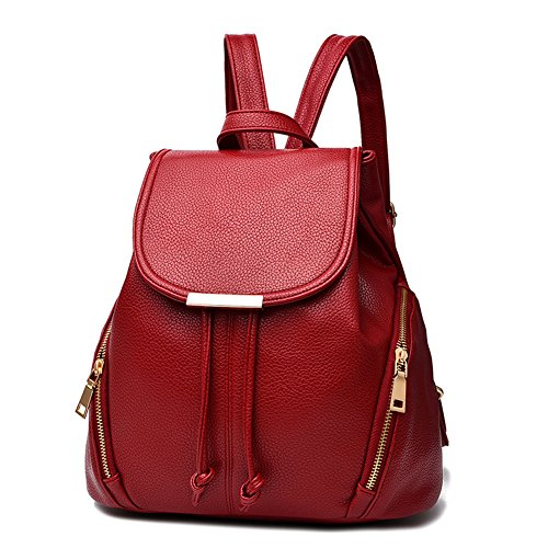 Z-joyee Casual Purse Fashion School Leather Backpack Shoulder Bag Mini Backpack for Women & Girls,Red2 by Z-joyee