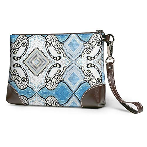 Wallet Handbag Coin Purse Snow Leopard Ogee Leather Clutch