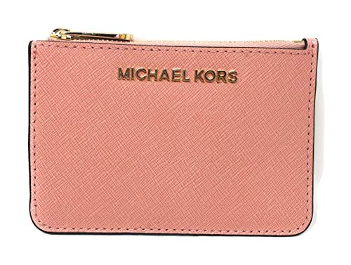 Michael Kors Jet Set Travel Small Top Zip Leather Coin Pouch ID Card Case Wallet In Pale Pink
