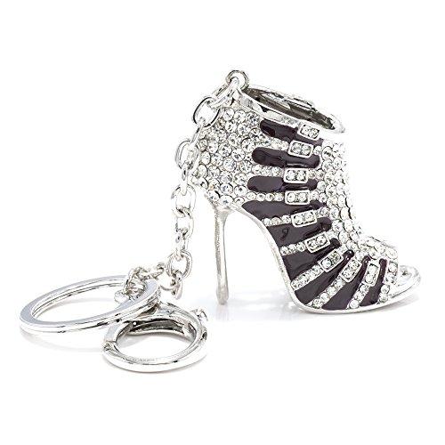 JewelBeauty Cute Lovely High Heeled Shoes Heels Rhinestone Crystal Keychain Charm Pendent Beautiful Accessories Best Gift for Girl Women Purse Charm Handbag Phone Bag Keyrings (Black II)