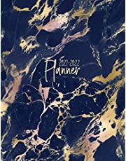 """2021-2022 Planner: Monthly and Weekly Planner 8.5"""" x 11"""" Navy Marble
