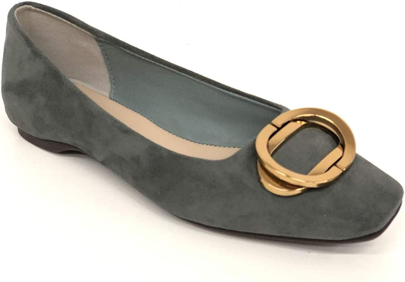 C.PARAVANO Flats Shoes Women Suede Flats Buckle Slip On Round Toe Ballerina Casual Shoes