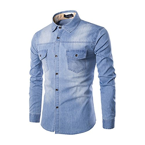 Hikenn Herren Freizeit Langärmlig Jeans Jeanshemd Wash Passform Hemd Oberteile (XL, Hellblau)