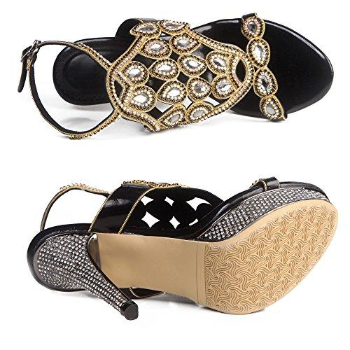 Heels Women's Shoes Pumps Black Honeystore Sandals Rhinestones Slingback Stiletto Platform AfU1WaWcq