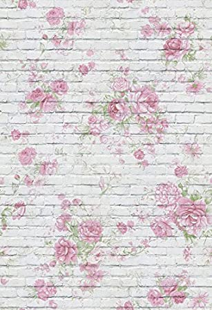8x6.5ft Grey Brick Wall Watercolor Floral Painting Backdrops for Photography Baby Shower Vinyl Backgroud Girls Birthday Photo Portraits Children Adult Shooting Studio Props