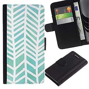 A-type (Watercolor White Green Pattern) Colorida Impresión Funda Cuero Monedero Caja Bolsa Cubierta Caja Piel Card Slots Para Sony Xperia Z3 Compact / Z3 Mini (Not Z3)