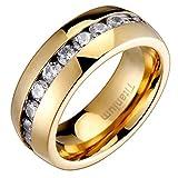 Men's Titanium Golden Ion-Plated Dome High Polish Round Cubic Zirconia CZ Wedding Engagement Ring TKJ