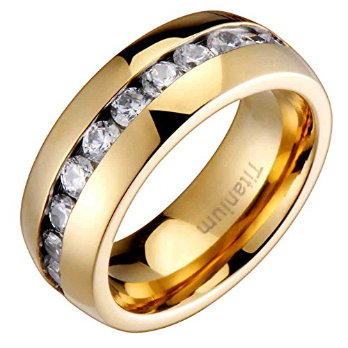 FlameReflection 8MM Comfort Fit Titanium Wedding Band Gold-Plated Engagement Ring with Channel Set Round CZ size 11.5 - Rings Channel Engagement