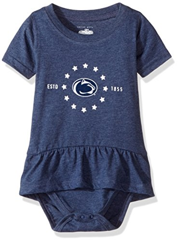 NCAA Penn State Nittany Lions Children Girls Short Sleeve Ruffle Onesie,18M,Midnight Blend