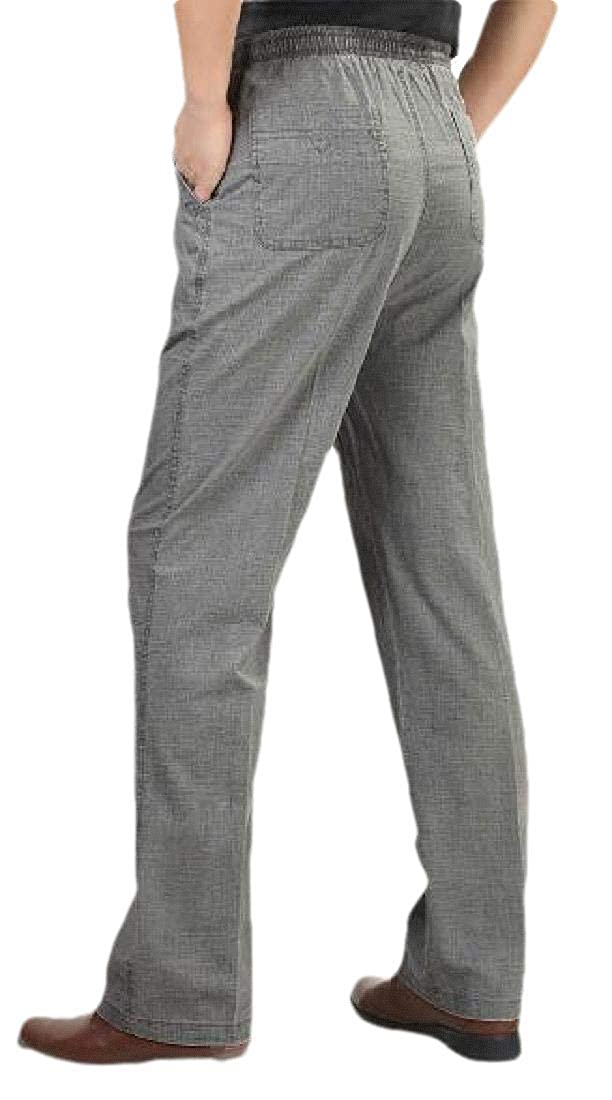 Wofupowga Men Casual High Waist Linen Cotton Big and Tall Solid Pants