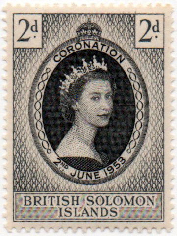 British Solomon Islands Postage Stamp Single 1953 Queen Elizabeth II Coronation Issue 2 d Scott #88 (Solomon Islands Stamps)