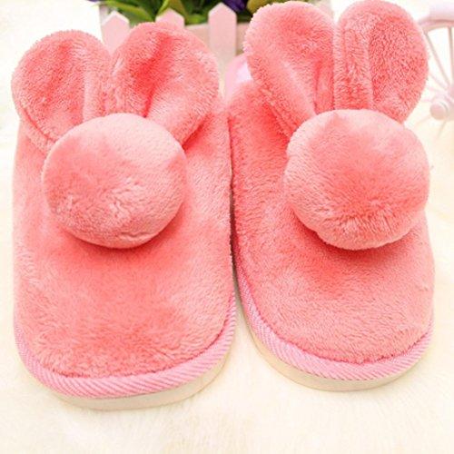 Pantuflas Invierno,Xinan Mujeres Conejo Zapatos Deslizadores Hogar Warm Rosa