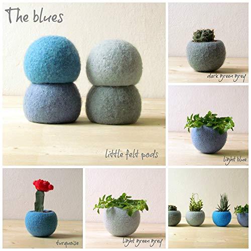 Felt succulent planter/felted bowl/Succulent pod/Blue felt vases/home decor/Set of 4