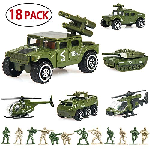 18 Pack Die-cast Military Vehicles Sets,6 Pack Assorted Alloy Metal Army Models Car Toys and 12 Pack Soldier Army Men, Mini Army Toy Tank,Jeep,Panzer,Anti-Air Vehicle,Helicopter Playset for Kids Boys (Army Toy Soldiers)