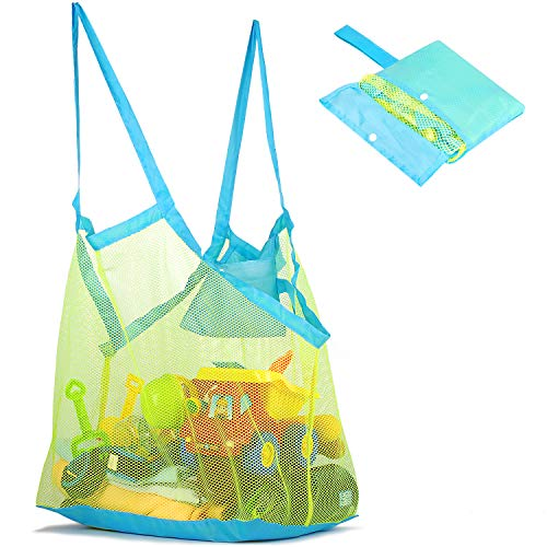 Mesh Beach Bag and Tote for Sand Toys Beach Net for Kids XL(Green)