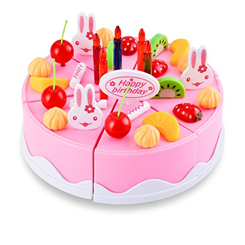 Best 54 Pieces Pretend Play Tea Party Set Birthday Cake With Fruits Candles