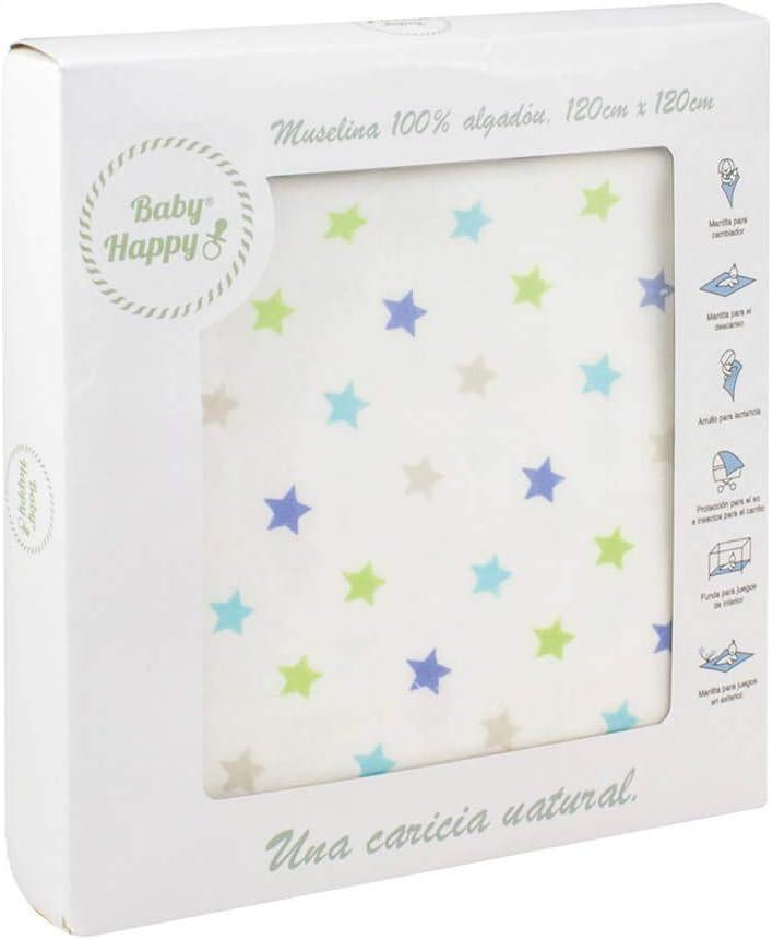 Muselina gasa para bebé 120 x 120 cm diseño estrellitas fondo blanco 100% algodón: Amazon.es: Bebé