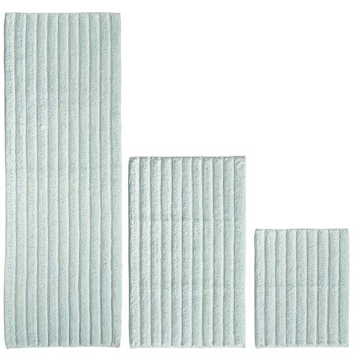 mDesign 100% Cotton Luxury Rectangular Spa Mat Rugs, Plush Water Absorbent - for Bathroom Vanity, Bathtub/Shower, Machine Washable - Ribbed Design - Runner, Standard & Small Rug, Set of 3 - Water Blue
