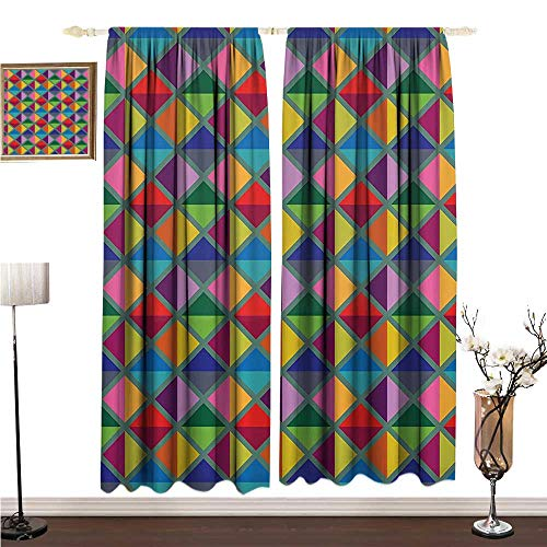 (Polyester Curtain Geometric Decor Collection Argyle Pattern Vibrant Colors Triangles Rhombuses Decoration Artful Design W108 xL72 Children's Bedroom Curtain)