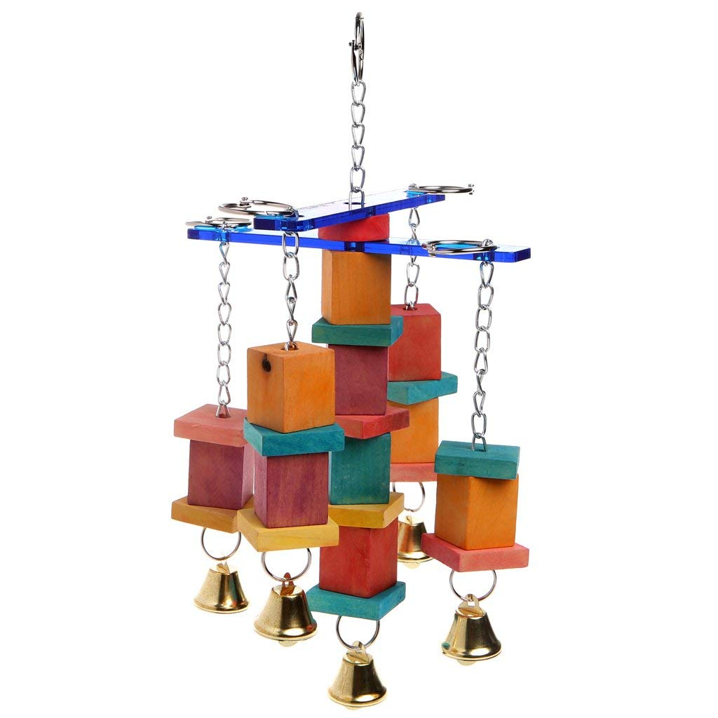 Pet Bird Parrot Parakeet Cockatiel Cage Hammock Swing Hanging Chew Wooden Toys Premium Quality by Yevison