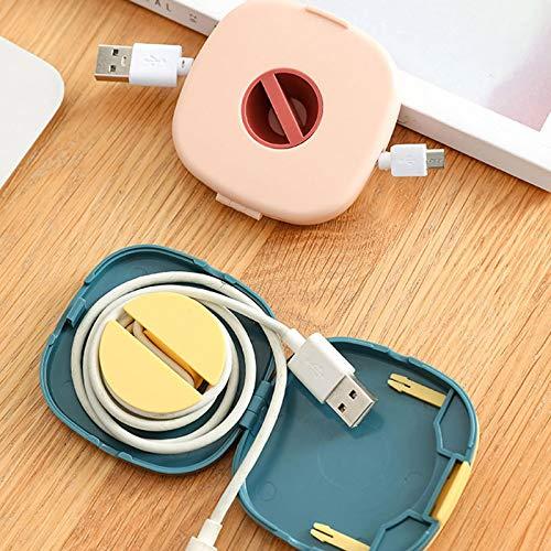 Caja de Almacenamiento de Cable de Datos, giratoria para Carga de Auriculares Caja de Almacenamiento de Cable Organizador de Cable retráctil Caja de Almacenamiento de Organizador (3PCS)