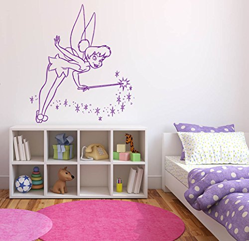 Wall Decal Sticker Bedroom Tinkerbell Fairy Magic Wings Forest Cute Kids Girls Nursery Boys Teenager Room -