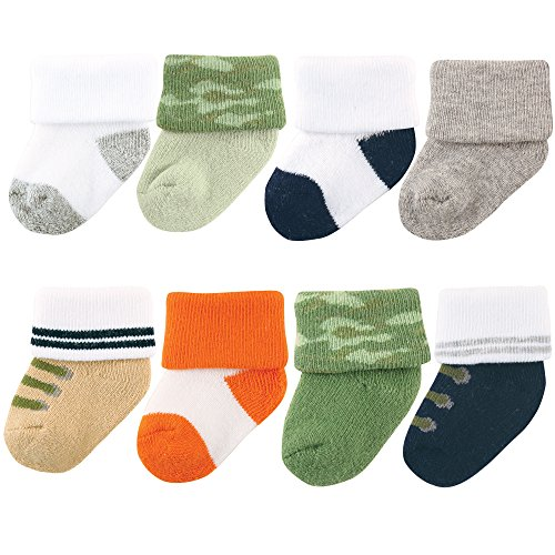 Luvable Friends Unisex 8 Pack Newborn Socks, Camo, 6-12 Months