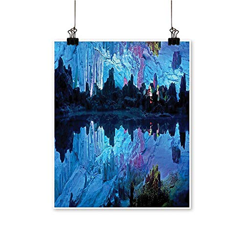 Single Painting Reed Flute Cistern ifical Crystal Palace Cave Image Bed Blue digo Office Decorations,20