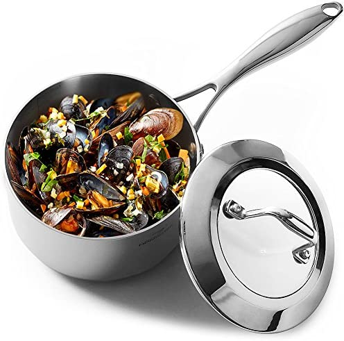 HOMI CHEF Mirror Polished NICKEL FREE Stainless Steel 1.75 QT Quart Sauce Pan with Glass Lid No Toxic Non Stick Coating, Whole-Clad 3-Ply 10112