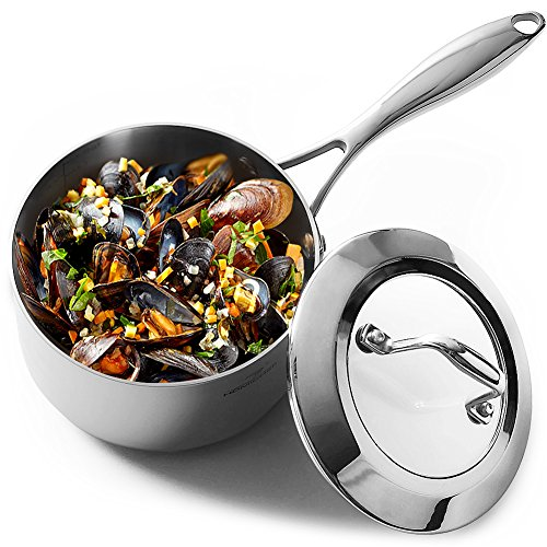 (HOMI CHEF Mirror Polished NICKEL FREE Stainless Steel 1.75 QT(Quart) Sauce Pan with Glass Lid (No Toxic Non Stick Coating, Whole-Clad 3-Ply) 10112)