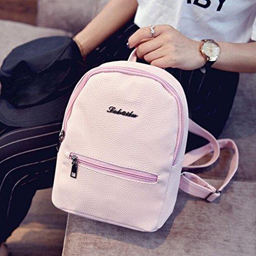 Color Zipper Girls Leather Women Creazrise Backpack Pink Rucksack Solid Backpack Women For 41WFT