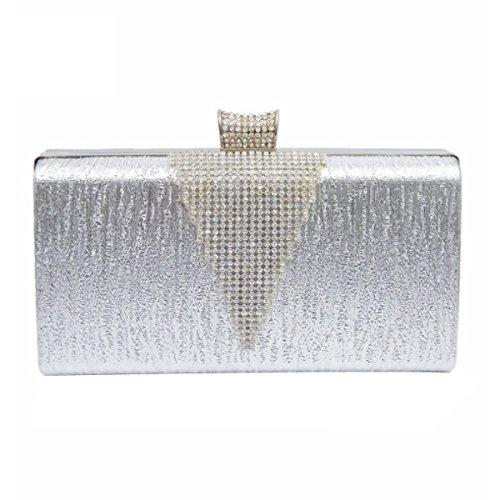 Los Diamantes De Las Mujeres Del Bolso Del Partido De Tarde De La Manera Del Diamante Bolsa Silver