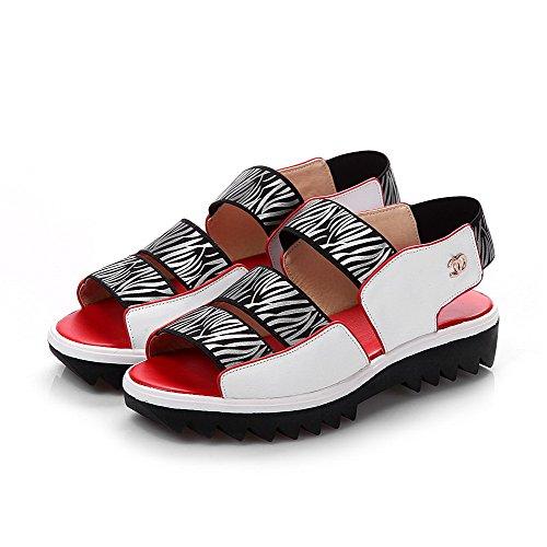 AllhqFashion Womens Open Toe Low-heels Soft Material Assorted Color Elastic Sandals White IdQ7gjPJ