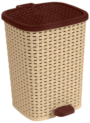 6 Gal. Rattan Compact Trash Bin Color: Beige and (Rattan Step Basket)